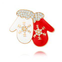 Rhinestone Snowflake Gloves Brooch - RED