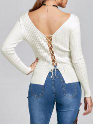 Ribbed Lace Up V Neck Knit Top