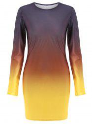 Fitted Long Sleeve Ombre Dress