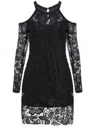 Cold Shoulder Long Sleeve Lace Bodycon Dress