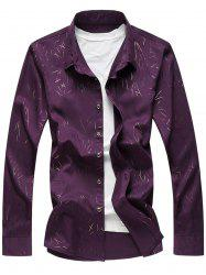 Allover Printed Long Sleeve Plus Size Shirt - PURPLE 7XL