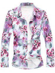 Long Sleeve Plus Size Floral Shirt - PURPLE 6XL