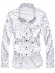Allover Printed Long Sleeve Plus Size Shirt - WHITE 7XL