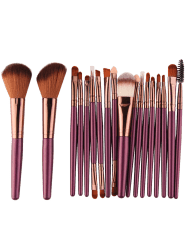 18Pcs Face Eye Multipurpose Makeup Brushes Kit - BROWNISH PURPLE