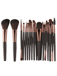 18Pcs Kit de brosses à maquillage multifonction visage - Noir Marron