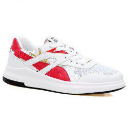Mesh Color Block Athletic Shoes - RED WITH WHITE