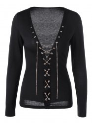 Lace Up Chains Plunge Top - BLACK