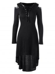 Hooded Lace Up Cold Shoulder Dress - BLACK