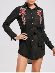 Long Sleeve Embroidered Mini Shirt Dress
