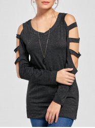 Ladder Cutout Heather Long Sleeve Top