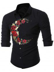 Rose Print Long Sleeve Shirt - BLACK
