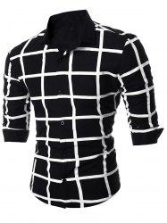 Geometric Grid Checkered Long Sleeve Shirt - BLACK