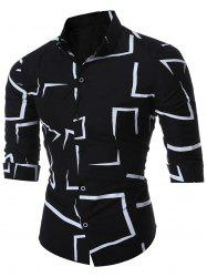 Geo-print Long Sleeve Shirt - BLACK