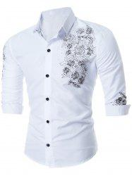 Button Floral Print Long Sleeve Shirt - WHITE