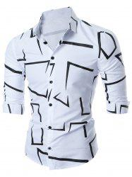 Geo-print Long Sleeve Shirt - WHITE