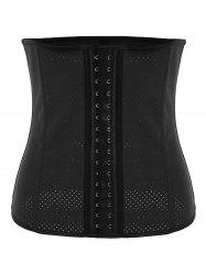 Plus Size Waist Trainer Latex Rubber Corset - BLACK