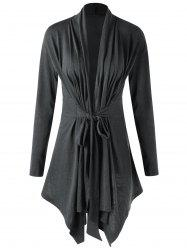 Shawl Collar Draped Asymmetrical Cardigan - DEEP GRAY