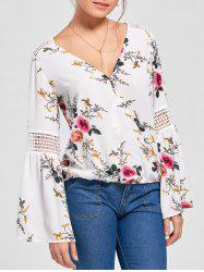 Floral Flare Sleeve Blouse - WHITE