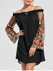 Flare Sleeve Off The Shoulder Embroidery Dress - BLACK