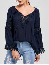 Flare Sleeve Lace Insert Bohemian Blouse - PURPLISH BLUE