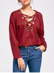 Drop Shoulder Lace Up Long Sleeve Top -