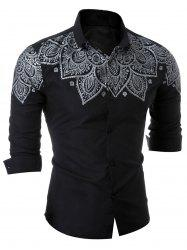 Slim Fit Printed Long Sleeve Shirt - BLACK