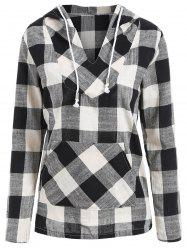 Plaid Kangaroo Pocket Drawstring Pullover Hoodie -