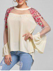 Embroidery Flare Sleeve High Low Blouse -