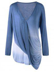 Plus Size Long Sleeve Ombre Draped Top -