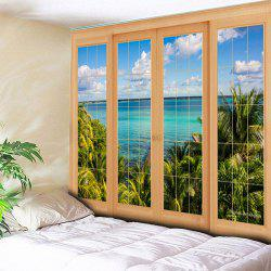 Window Scenery Print Wall Hanging Tapestry -