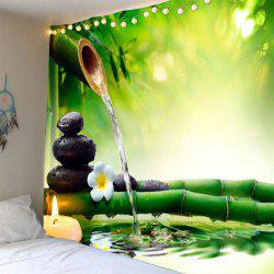Bamboo Water Stone Print Waterproof Wall Art Tapestry -
