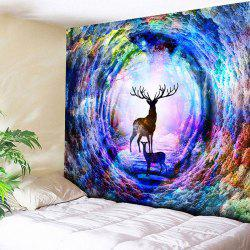 Tree Hole Deer Printed Wall Hanging Tapestry -