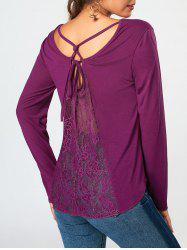 Cross Strappy Lace Back Long Sleeve T-shirt -