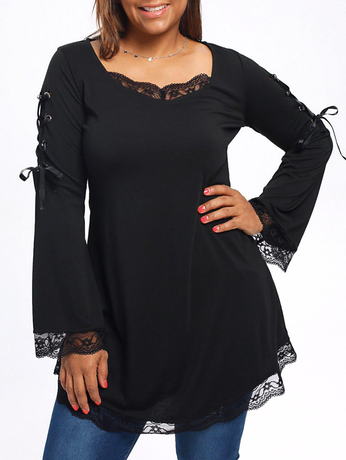 Lace Trim Plus Size Long Sleeve Tunic T-shirtWOMEN<br><br>Size: 2XL; Color: BLACK; Material: Polyester; Shirt Length: Regular; Sleeve Length: Full; Collar: U Neck; Style: Fashion; Season: Fall,Spring; Sleeve Type: Flare Sleeve; Embellishment: Criss-Cross,Lace,Ribbons; Pattern Type: Solid; Weight: 0.3400kg; Package Contents: 1 x T-shirt;