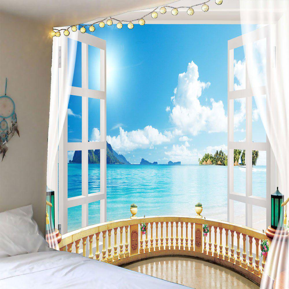 Window Seascape Waterproof Wall TapestryHOME<br><br>Size: W59 INCH * L59 INCH; Color: LIGHT BLUE; Style: Natural; Theme: Landscape; Material: Polyester; Shape/Pattern: Print; Weight: 0.2400kg; Package Contents: 1 x Tapestry;