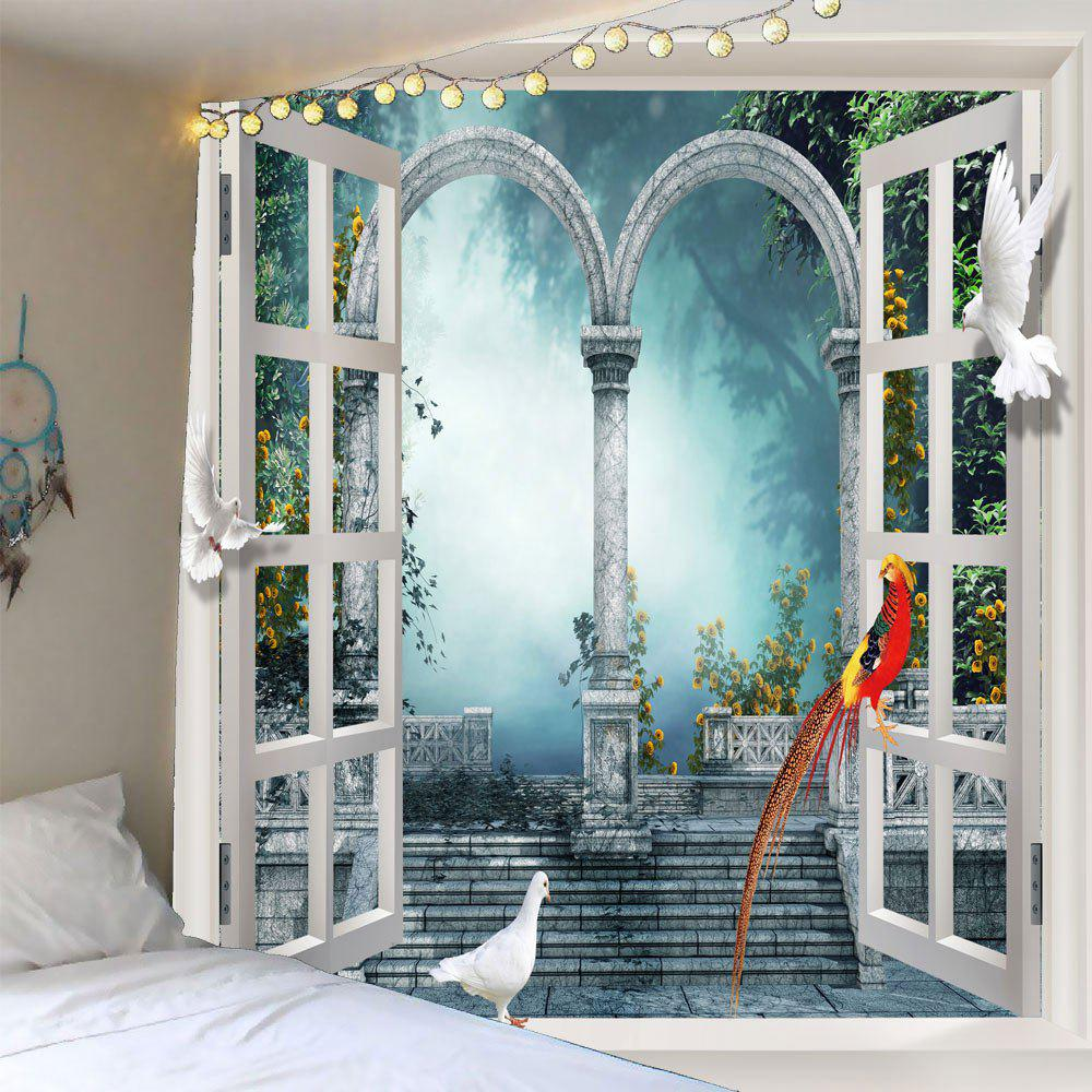 Window Scenery Pigeons Waterproof Wall TapestryHOME<br><br>Size: W79 INCH * L59 INCH; Color: LIGHT BLUE; Style: Natural; Theme: Landscape; Material: Polyester; Shape/Pattern: Animal; Weight: 0.3000kg; Package Contents: 1 x Tapestry;