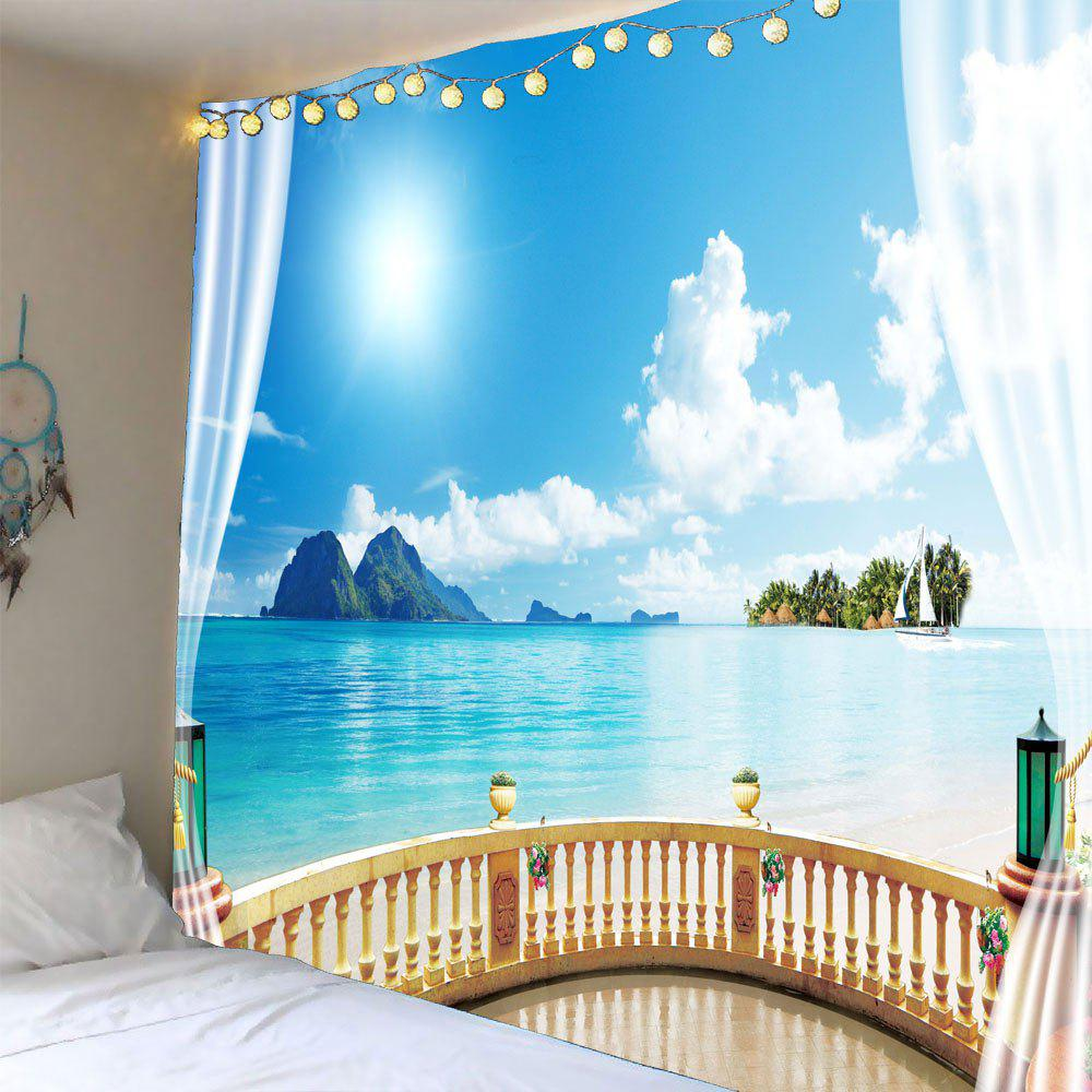 New Window Seascape Waterproof Hanging Tapestry