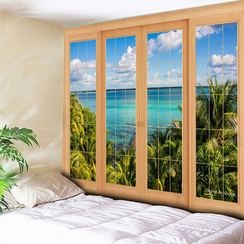 Window Scenery Print Wall Hanging TapestryHOME<br><br>Size: W79 INCH * L59 INCH; Color: COLORMIX; Style: Beach Style; Theme: Landscape; Material: Cotton,Polyester; Feature: Removable,Washable; Shape/Pattern: Plant,Print; Weight: 0.3000kg; Package Contents: 1 x Tapestry;