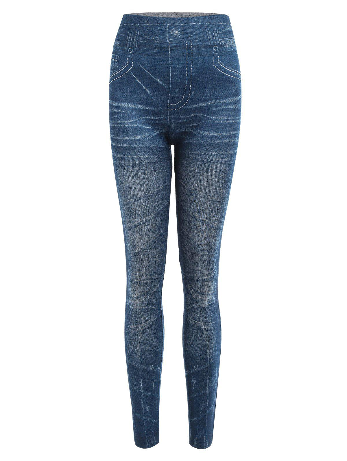 Vintage Mid-Waisted Slimming Tattoo Graffiti Womens Jean LeggingsWOMEN<br><br>Size: ONE SIZE(FIT SIZE XS TO M); Color: BLUE; Style: Vintage; Material: Polyester; Waist Type: Mid; Weight: 0.1900kg; Package Contents: 1 x Leggings;