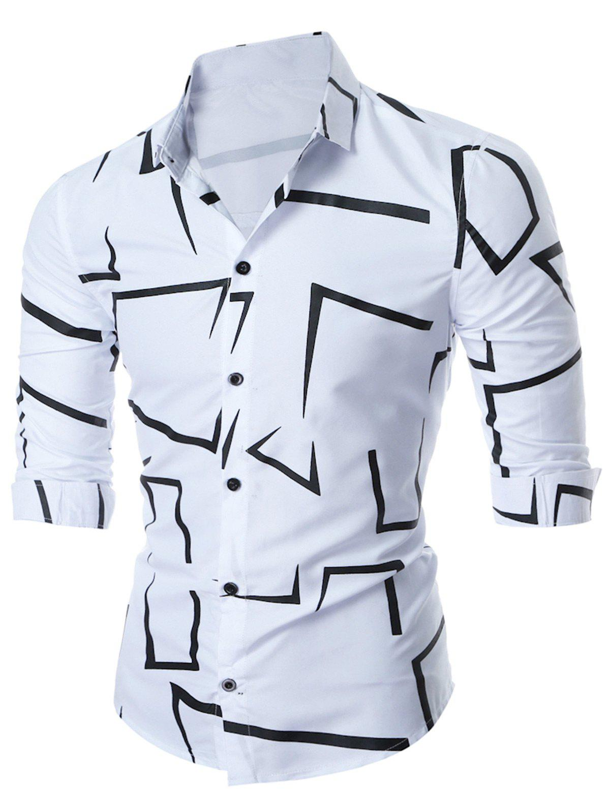 Geo-print Long Sleeve ShirtMEN<br><br>Size: XL; Color: WHITE; Shirts Type: Casual Shirts; Material: Cotton,Polyester; Sleeve Length: Full; Collar: Turn-down Collar; Pattern Type: Geometric,Print; Weight: 0.2500kg; Package Contents: 1 x Shirt;