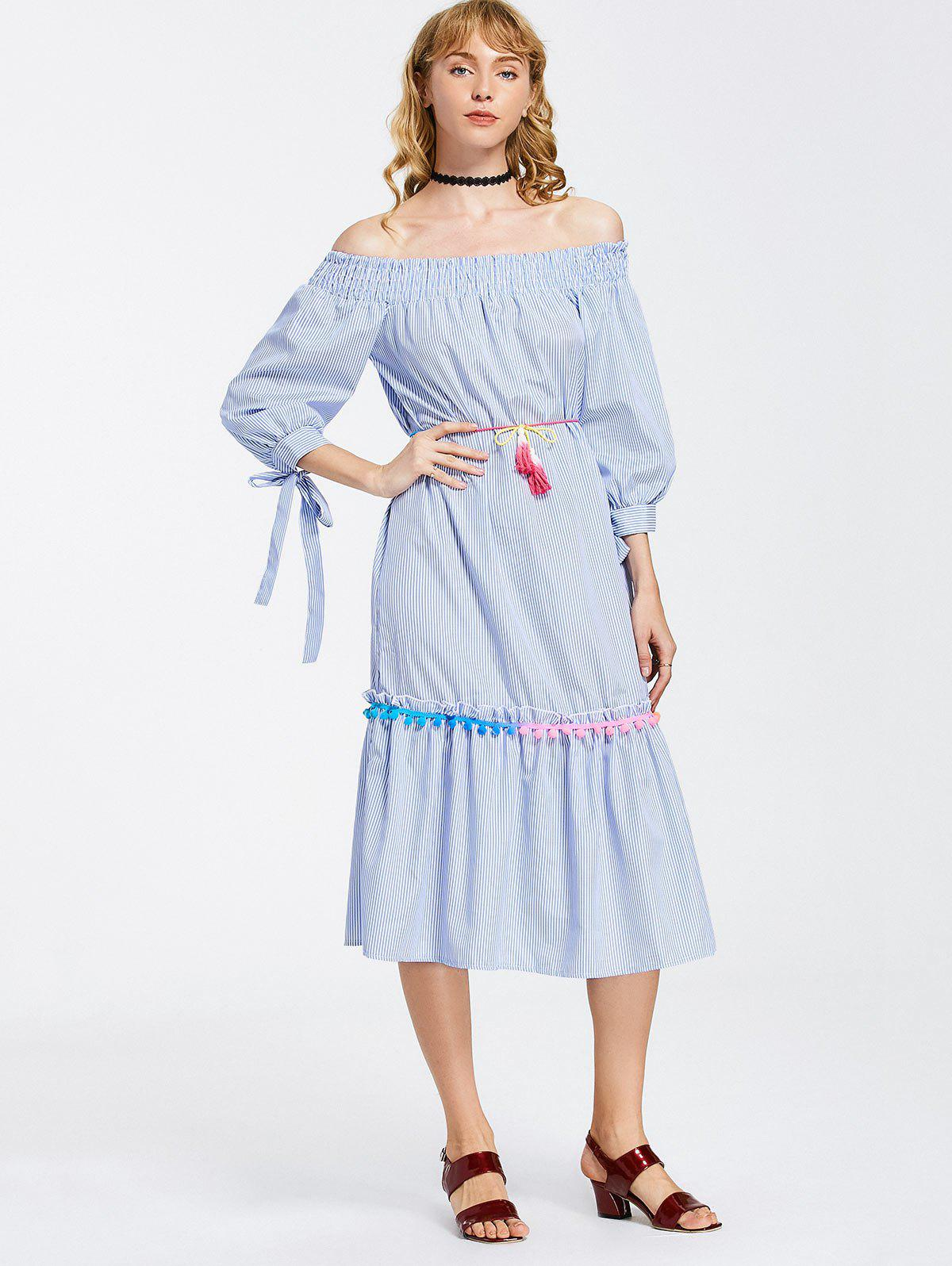 Cheap Off Shoulder Stripes Bow Sleeve Midi Dress