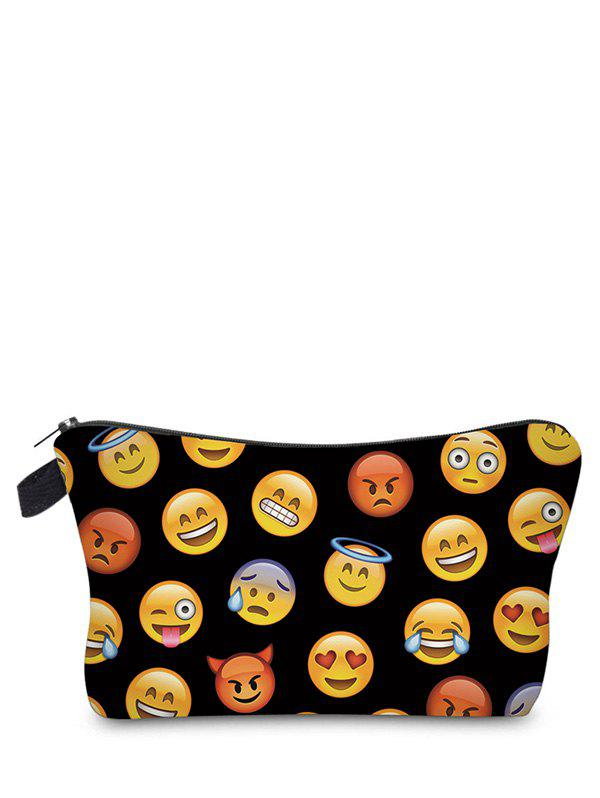 Emoji Print Clutch Makeup BagSHOES &amp; BAGS<br><br>Color: BLACK; Style: Casual; Closure Type: Zipper; Pattern Type: Print; Main Material: Polyester; Length: 17.5CM; Width: 4.5CM; Height: 12CM; Weight: 0.3000kg; Package Contents: 1 x Makeup Bag;