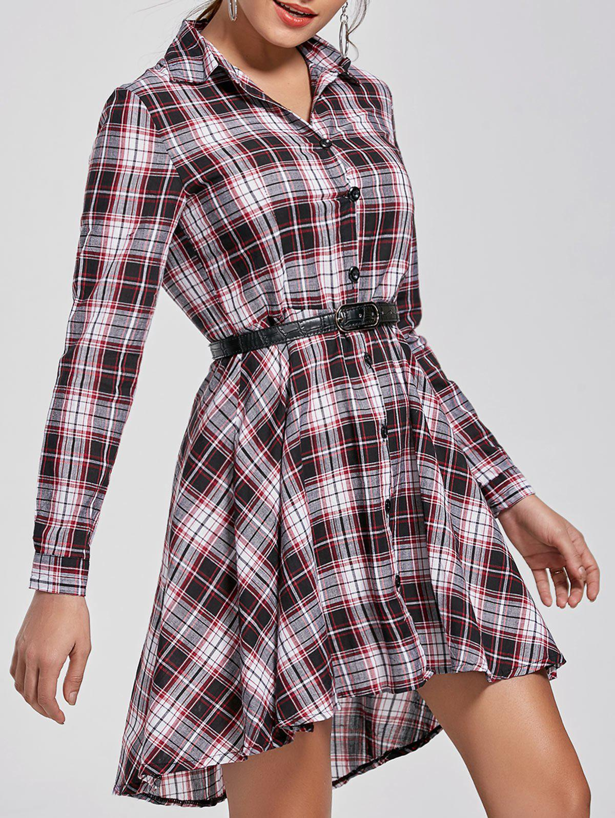 Button Down Plaid Long Sleeve Shirt DressWOMEN<br><br>Size: XL; Color: COLORMIX; Style: Casual; Material: Cotton,Polyester; Silhouette: High-Low; Dress Type: Shirt Dress; Dresses Length: Mini; Neckline: Shirt Collar; Sleeve Length: Long Sleeves; Pattern Type: Plaid; With Belt: No; Season: Fall,Spring; Weight: 0.1840kg; Package Contents: 1 x Dress;