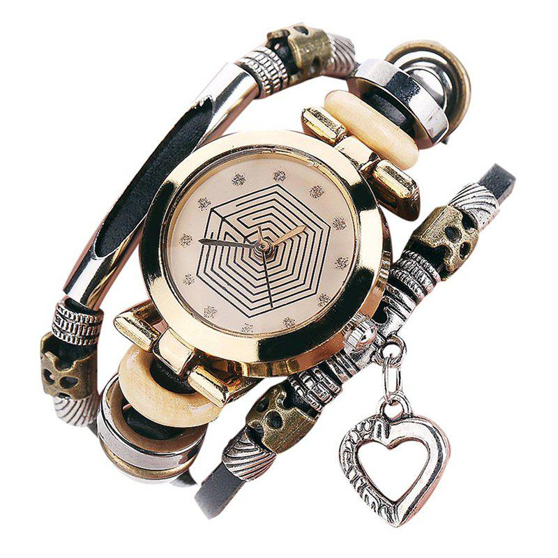 Heart Charm Layered Rhinestone Bracelet WatchJEWELRY<br><br>Color: BLACK; Gender: For Women; Style: Fashion; Type: Quartz watch; Index Dial: Analog; Case material: Alloy; Band material: PU Leather; Movement: Quartz; Dial Shape: Round; Water-Proof: No; Case Thickness(MM): 6mm; Dial Diameter: 2.6cm; Band Length(CM): 24cm; Band Width(CM): 1.8cm; Package Contents: 1 x Watch;