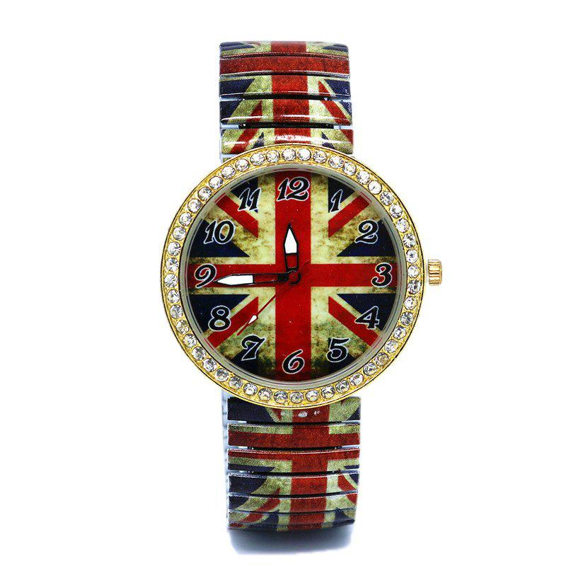 Elastic Alloy Strap Union Jack WatchJEWELRY<br><br>Color: RED; Gender: For Women; Style: Fashion; Type: Quartz watch; Index Dial: Analog; Case material: Alloy; Band material: Alloys; Movement: Quartz; Dial Shape: Round; Water-Proof: No; Case Thickness(MM): 6mm; Dial Diameter: 3.8cm; Band Length(CM): 23cm; Band Width(CM): 2cm; Package Contents: 1 x Watch;