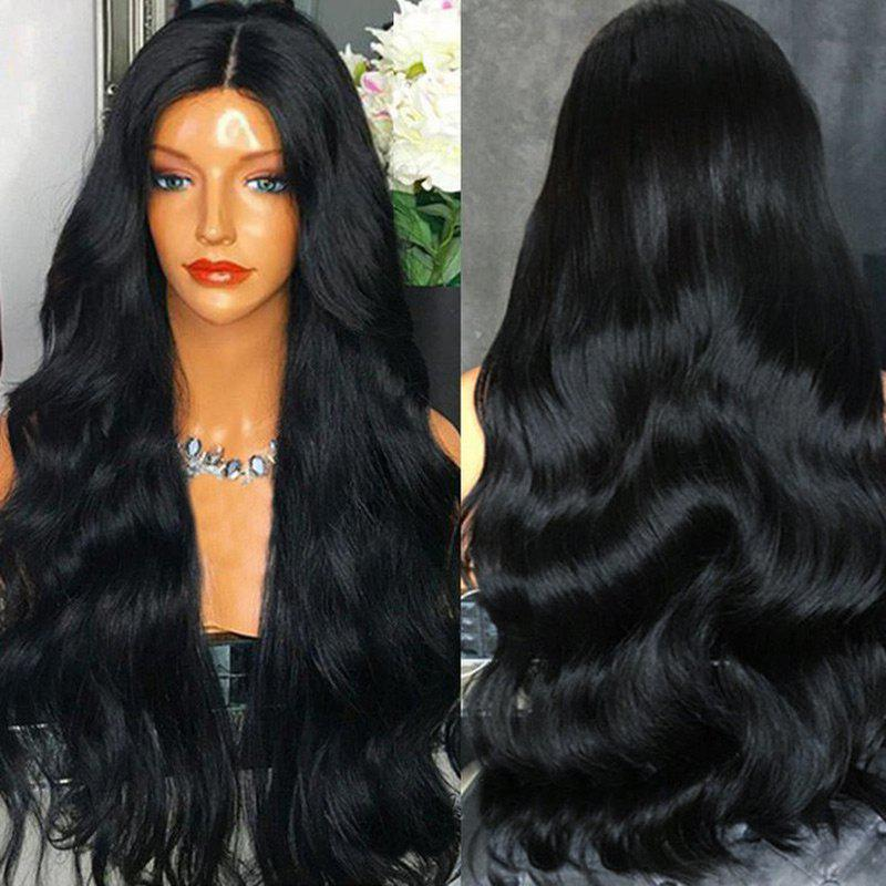 Ultra Long Center Part Thick Wavy Synthetic WigHAIR<br><br>Color: BLACK; Type: Full Wigs; Cap Construction: Capless; Style: Wavy; Material: Synthetic Hair; Bang Type: Middle; Length: Long; Length Size(CM): 82; Weight: 0.2800kg; Package Contents: 1 x Wig;