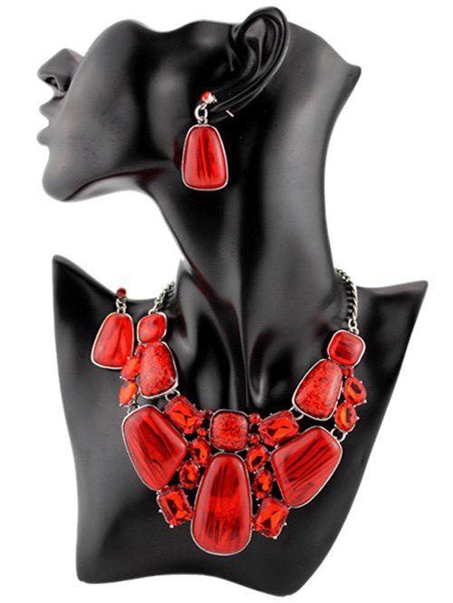 Faux Gemstone Retro Statement Necklace SetJEWELRY<br><br>Color: RED; Gender: For Women; Style: Trendy; Shape/Pattern: Geometric; Weight: 0.0100kg; Package Contents: 1 x Necklace  1 x Earrings(Pair);