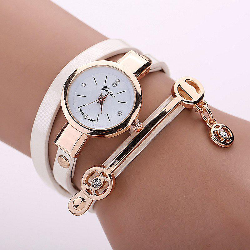 Faux Leather Strap Round Wrap Bracelet WatchJEWELRY<br><br>Color: WHITE; Gender: For Women; Style: Fashion; Type: Bracelet Watch; Index Dial: Analog; Case material: Alloy; Band material: PU Leather; Movement: Quartz; Dial Shape: Round; Water-Proof: No; Case Thickness(MM): 10mm; Dial Diameter: 2.5cm; Band Length(CM): 55cm; Band Width(CM): 1cm; Package Contents: 1 x Watch;