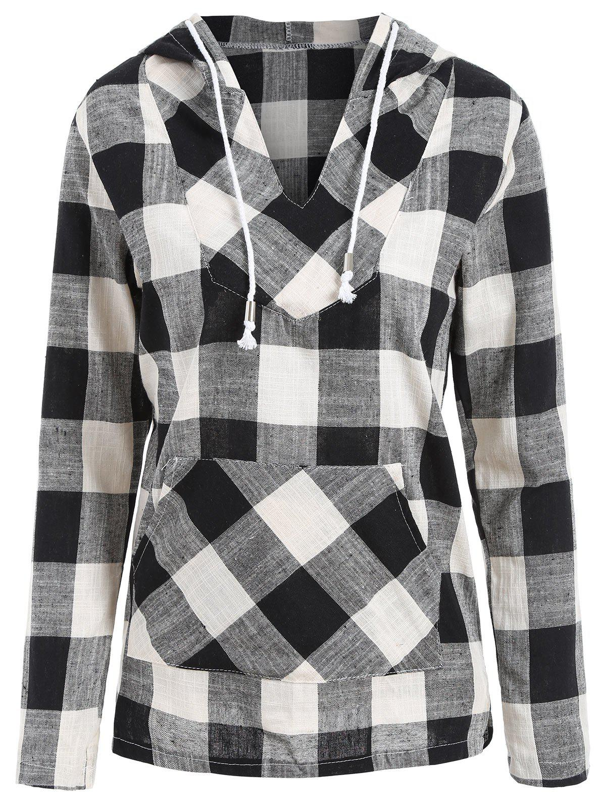 Shops Plaid Kangaroo Pocket Drawstring Pullover Hoodie