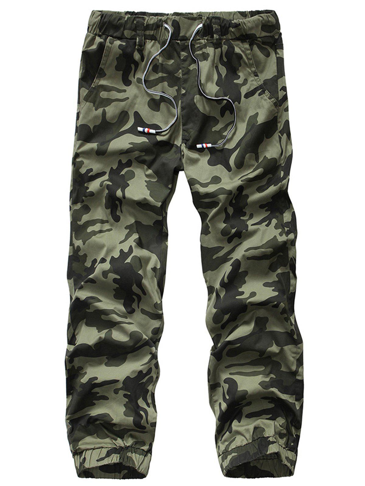 Shop Camouflage Drawstring Beam Feet Jogger Pants